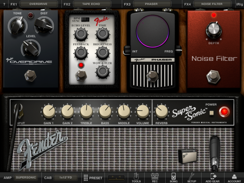 A de-noised Fender Super-Sonic amp and three Fender stompboxes in an iPad app